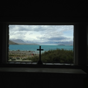 Lake Tekapo: View from the only building looking over the lake, a really old church.