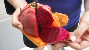 Rob's first dragonfruit - one of many different new fruits he tried.