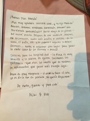 Our letter to Ermida explaining why we were outsies.