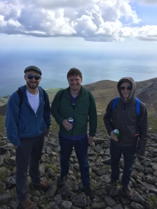 Kyle, Rob, and Joe at the top of Sleve Donard.