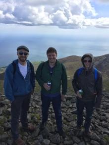 Kyle, Rob, and Joe at the top of Sleve Donard.