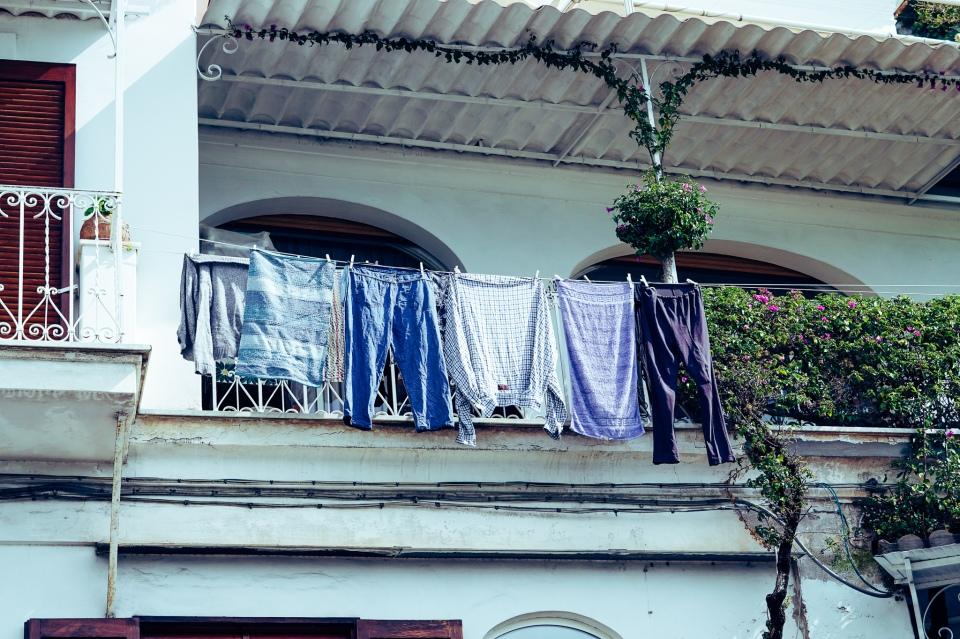 laundryhangingfromarailing